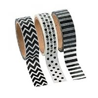 Black & White Washi Tape Set (3 Rolls per Unit), 16'