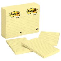 Post-it Notes, 4 in x 6 in, Canary Yellow, Lined, 1 Pad,100 Sheets/Pad (660)