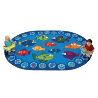 Kids Fishing for Literacy Rug, Carpet,  8' x 12' Oval