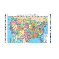 Classroom Political USA Wall Map, United States Includes Flags 33 X 49 Inches