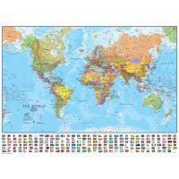 Classroom Political World Wall Map, Includes Flags 33 X 49 Inches