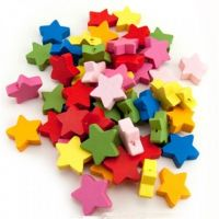Hygloss Bright Wooden Star Beads, 125 per pack