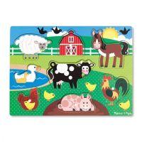 Melissa & Doug Farm Peg Puzzle Wooden Puzzle - 8 Pieces, item 9050
