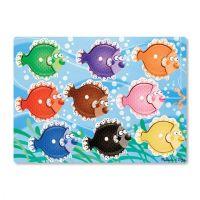 Melissa & Doug Colorful Fish Peg Wooden Puzzle - 9 Pieces, item 9058