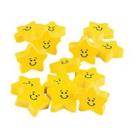 Rubber Smile Face Star Erasers , 24 units