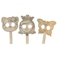 Darice Crafts for Kids Wood Mask 3 Assorted Styles Princess, Butterfly, or Kitten
