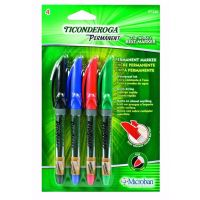 Ticonderoga RediSharp Permanent Markers, Fine Point, Set of 4 Markers, Red, Black, Green and Blue 97240