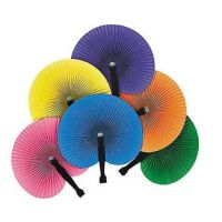 Colorful Folding Hand Fans , 12 units