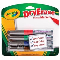 Crayola Chisel Tip Dry Erase Markers, Assorted Colors, 4 count, 98-8626