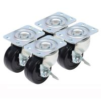 Caster Classics 2-inch Locking Low  Rubber Wheel Plate Casters - 4-Pack