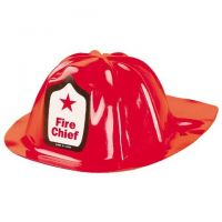 Children Plastic Fire Chief Hats, 12/pack