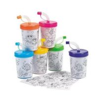 Color Your Own Cups with Lids & Straws 12 per package