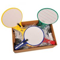 KleenSlate Round Dry-Erase Paddle Board Set, Classroom Pack Of 12