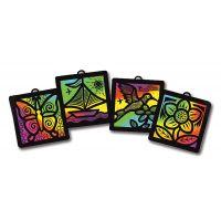 Melissa & Doug Scratch Art Light Catcher Classroom Group Pack: Butterfly, Boat, Hummingbird, Flower 12 Project Pack