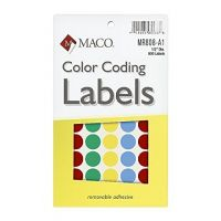 MACO Assorted Primary Round Color Coding Labels, 1/2 Inches in Diameter, 800 Per Box (MR808-A1)