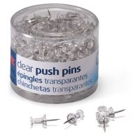 Push Pins, Clear, 100 Count