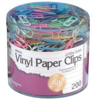 Jumbo Assorted Colored Vinyl Paper Clips 200/Box