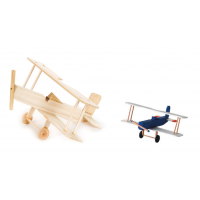 Darice Wood Model Kit - Bi Plane - 3-1/2 x 8-1/2 x 7-1/2 inches (9169-08)