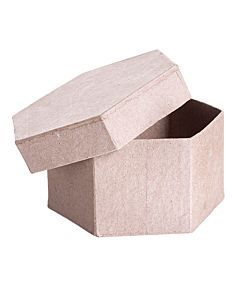 """Paper Mache Box """"by the case of 36"""" - Hexagon - 4 x 4 x 2 inches."""