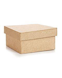 "Paper Mache Box ""by the case of 36"" - Square - 4 x 4 x 2 inches."