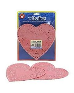 "Hygloss Heart Paper Doilies Decorative, Pink  Lace Doilies, Disposable, 6"" Diameter, 100 Pack"