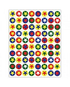 "Hygloss Colored Stars in ½"" Circle Stickers 3 sheets"