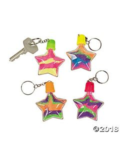 Star Sand Art Bottle Keychains - 12 per package