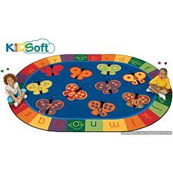 Kids Soft 123 ABC Butterfly Fun Rug, Carpet 8' x 12' Oval