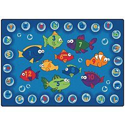 Kids Fishing for Literacy Rug, Carpet,  6' x 9' Rectangle