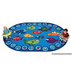 Kids Fishing for Literacy Rug, Carpet,  8' x 12' Oval