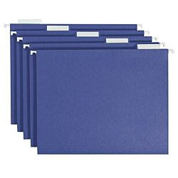 Hanging File Folder with Tab, 1/5-Cut Adjustable Tab, Legal Size, Blue , 25 per Box