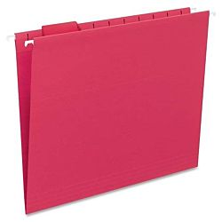 Hanging File Folder with Tab, 1/5-Cut Adjustable Tab, Letter Size, Red, 25 per Box