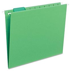 Hanging File Folder with Tab, 1/5-Cut Adjustable Tab, Legal Size, Bright Green, 25 per Box