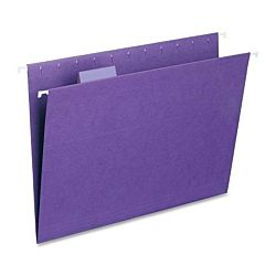 Hanging File Folder with Tab, 1/5-Cut Adjustable Tab, Legal Size, Violet , 25 per Box